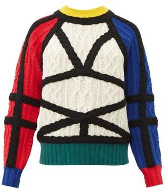 Charles Jeffrey Loverboy Aran Contrast Cable Knit Wool Jumper - Womens - Multi