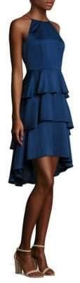Aidan Mattox Ruffled Hi-Lo Halter Dress