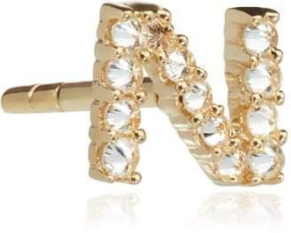 N. Annoushka Yellow Gold and Diamond Initial Single Stud Earring
