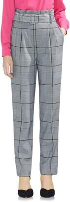 Vince Camuto Glen Plaid Paperbag Waist Slim Pants