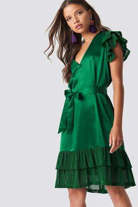 Na Kd Party Glitter Frills V-Neck Mini Dress