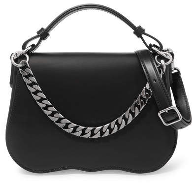 CALVIN KLEIN 205W39NYC - Chain-trimmed Leather Shoulder Bag - Black