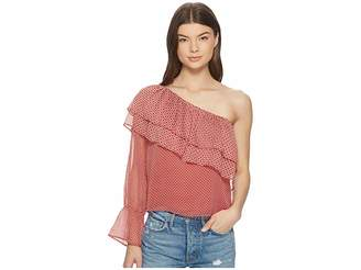 Lucky Brand Cold Shoulder Printed Top Women's Long Sleeve Pullover