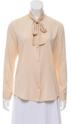 The Row Tie-Accented Silk Top