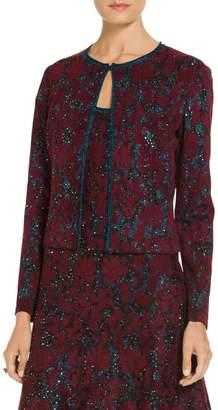 St. John Sparkle Velvet Jacquard Knit Cardigan