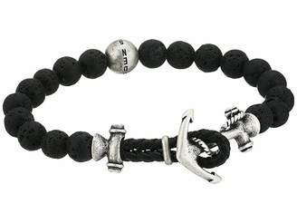 Steve Madden 8 Lava Bead Bracelet with Anchor Hook Closure in Stainless Steel
