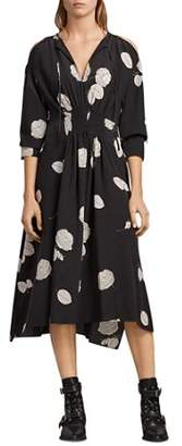 AllSaints Lavete Rodin Smocked Floral Silk Dress