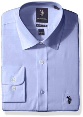 U.S. Polo Assn. Men's Regular Fit Solid Semi Spread Collar Dress Shirt, Broadcloth Ice Blue