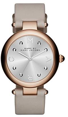 Marc Jacobs Women's Quartz Watch with Silver Dial Analogue Display and Silver Leather Bangle MJ1408