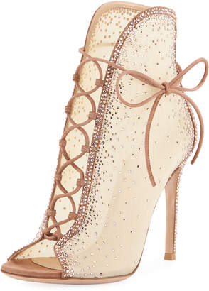 Gianvito Rossi Strass Mesh Lace-Up Booties
