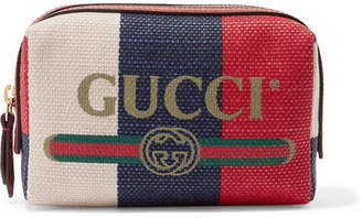 Gucci Leather-trimmed Striped Canvas Cosmetics Case - Red