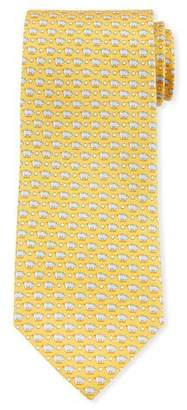 Salvatore Ferragamo Giusto Piggy Bank Silk Tie, Yellow