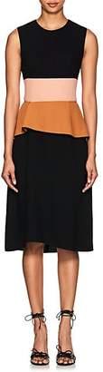 Narciso Rodriguez Women's Colorblocked Virgin Wool Peplum Dress - Black, pink, clay
