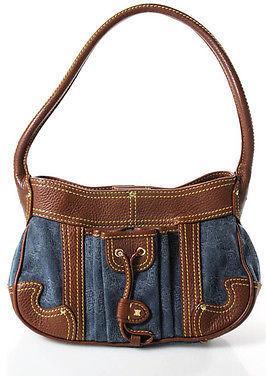 CelineCeline Brown Blue Leather Trimmed Denim Shoulder Handbag