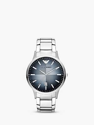 Emporio Armani AR2472 Men's Degrade Dial Date Bracelet Strap Watch, Silver/Blue
