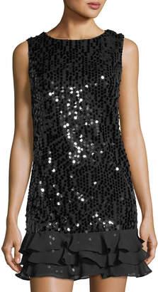 Julia Jordan Sequined Drop-Waist Dress