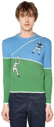 Thom Browne Cotton Knit Sweater W/ Tennis Embroidery
