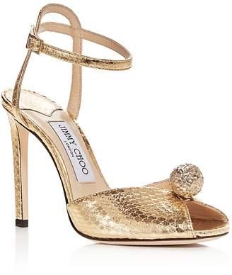 Jimmy Choo Women's Sacora 100 Snake-Embossed Embellished Leather High-Heel Sandals