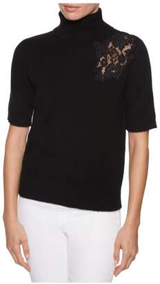 Magaschoni Short Sleeve Turtleneck W/Lace