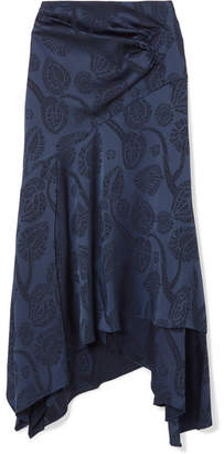Peter Pilotto Asymmetric Satin-jacquard Midi Skirt