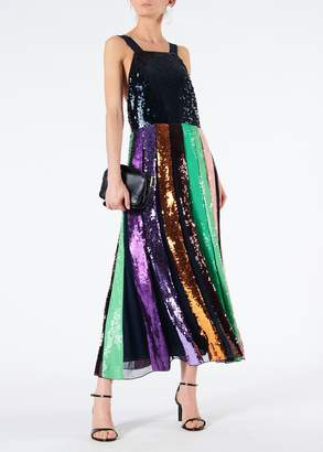 Tibi Striped Sequined Overall Dress