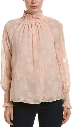 Rebecca Taylor Clipped Silk-Blend Top