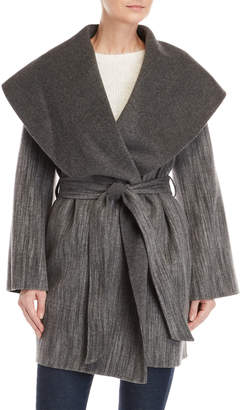BCBGMAXAZRIA Charcoal Wool Wrap Coat