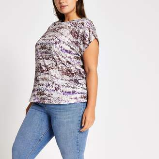 River Island Womens Plus Purple tie dye boat neck T-shirt