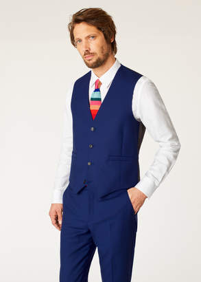 Paul Smith A Suit To Travel In - Men's Tailored-Fit Indigo Wool Waistcoat