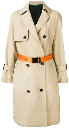 Heron Preston contrast back trench coat