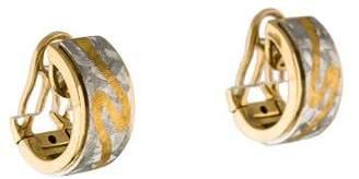 Two Tone Textured Hoop Earrings
