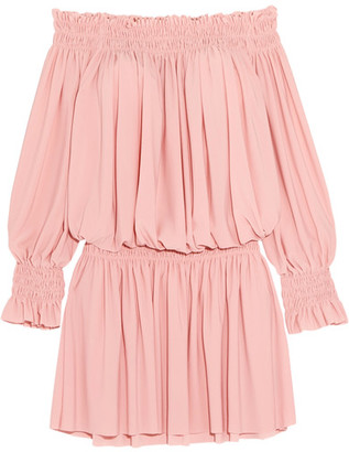 Norma Kamali - Off-the-shoulder Ruffled Smocked Stretch-jersey Dress - Pastel pink $185 thestylecure.com