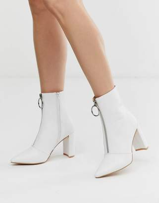 Public Desire Thrill white block heeled ankle boots