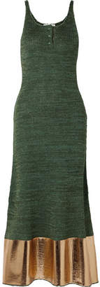 J.W.Anderson Metallic-paneled Knitted Maxi Dress - Forest green