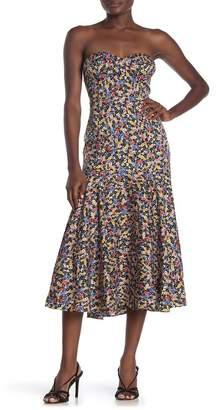 Veronica Beard Annika Floral Silk Blend Strapless Midi Dress