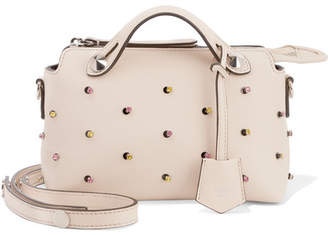 Fendi By The Way Mini Embellished Leather Shoulder Bag - Cream