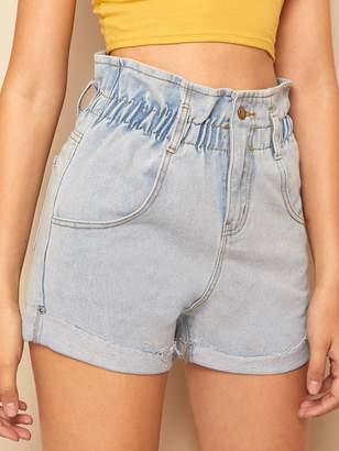 592593ef0b Shein Paperbag Waist Light Wash Cuffed Denim Shorts