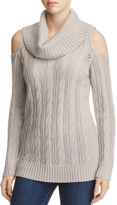 Design History Cold Shoulder Cable-Knit Sweater $112 thestylecure.com