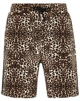 Topman Mens Multi Leopard Print Taping Jersey Shorts