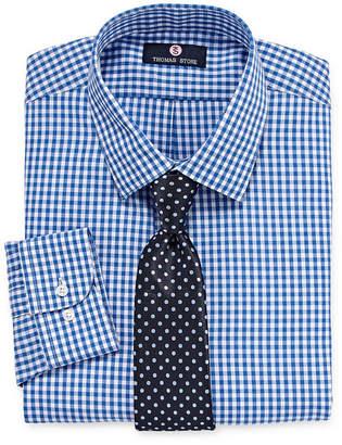 Thomas Laboratories STONE Stone Stone Shirt And Tie Set Big And Tall Mens Point Collar Long Sleeve Shirt + Tie Set