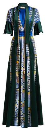 Peter Pilotto Embellished Satin Evening Gown - Womens - Green