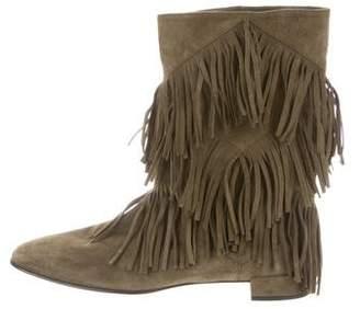 Roger Vivier Suede Fringe Ankle Boots