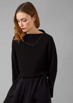 Giorgio Armani Sweater In Jacquard Jersey With Maxi-Seersucker Motif