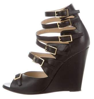 Chloé Leather Wedge Sandals