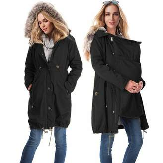 zenicham Women's Stitching Hooded Fur Collar Long Maternity Coat