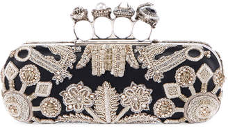 Alexander McQueen Jewelled Four Ring Clutch w/ Crystal Embroidered Swans