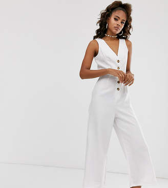 Missguided Tall linen culotte jumpsuit in white