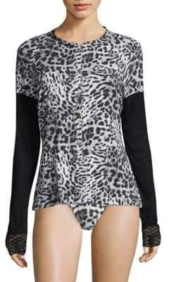 Cosabella Leopard Print Long-Sleeve Top