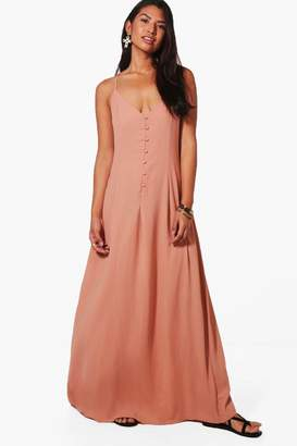 boohoo Lola Button Through Maxi Dress