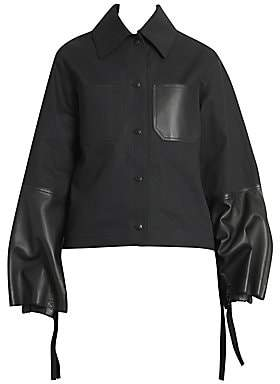 Loewe Women's Cotton & Leather Bell-Sleeve Jacket